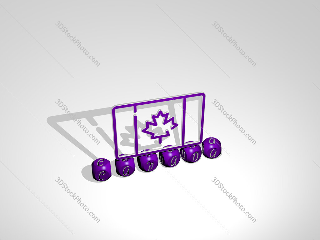 canada cubic letters with 3D icon on the top