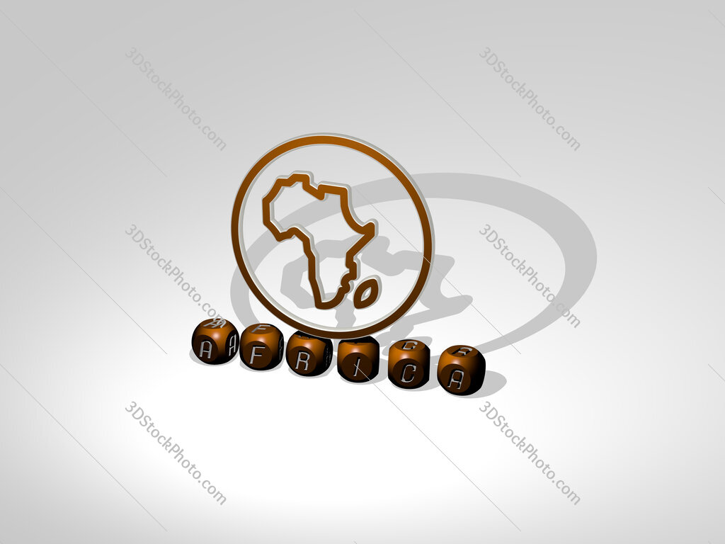 africa cubic letters with 3D icon on the top