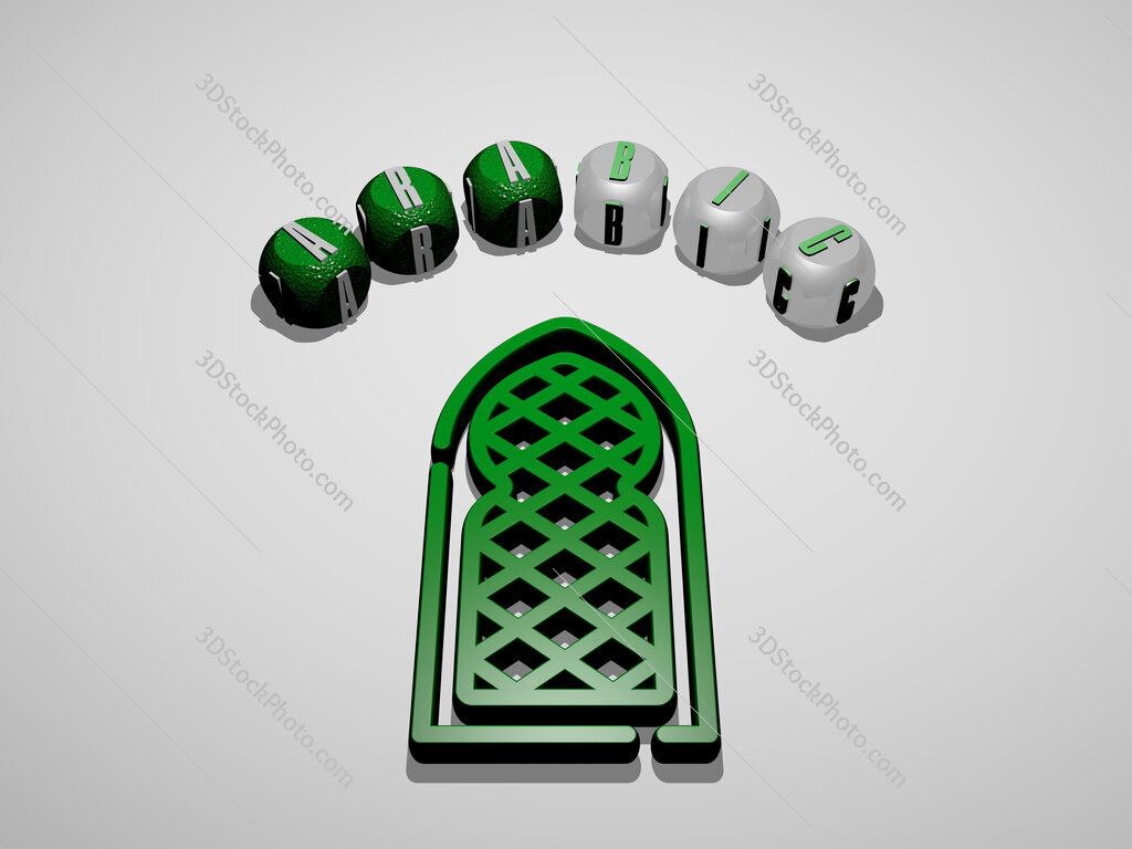 arabic 3D icon surrounded by the text of cubic letters