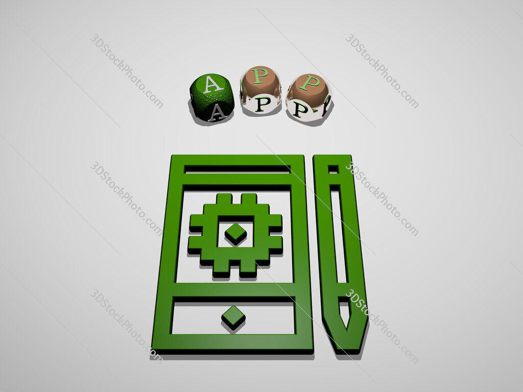 app 3D icon surrounded by the text of cubic letters