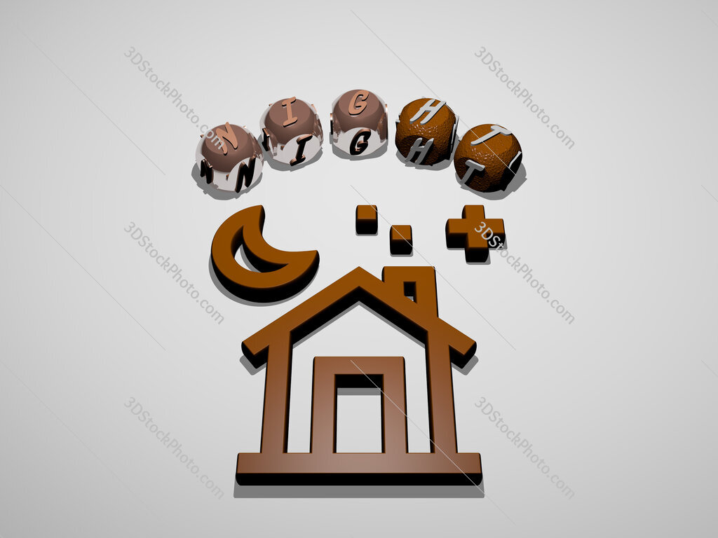 night 3D icon surrounded by the text of cubic letters