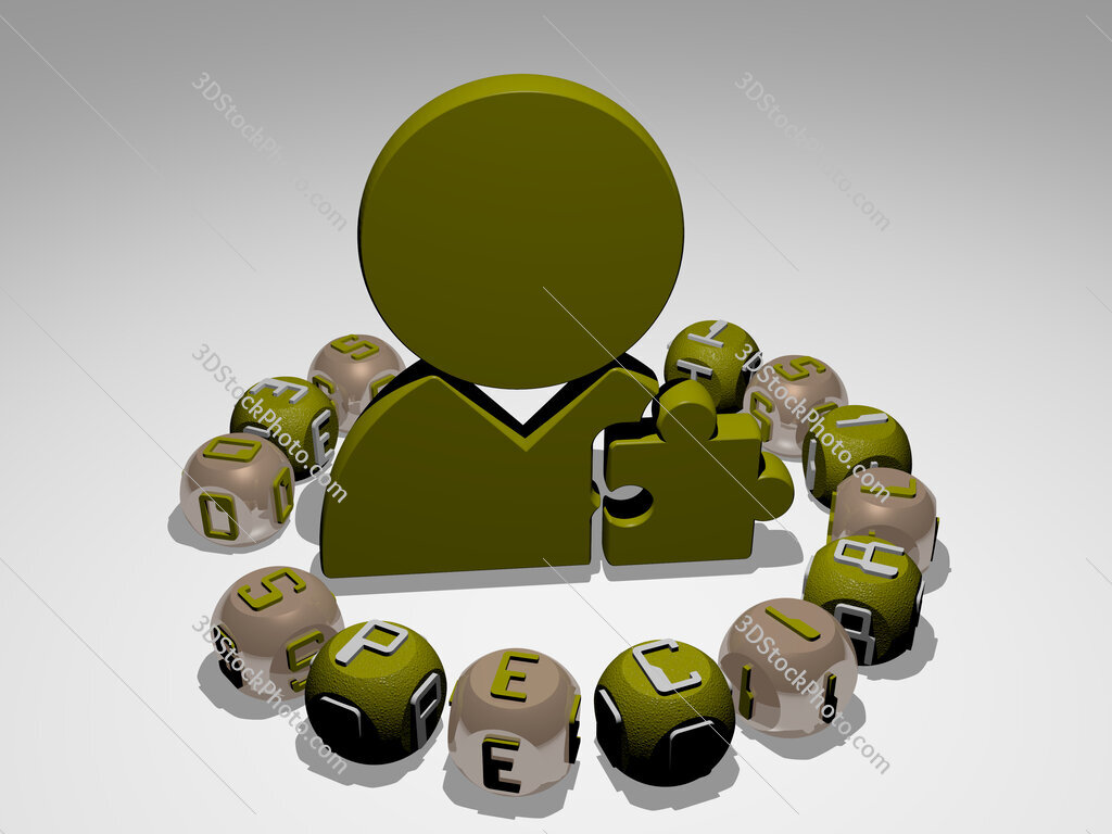 seo specialist round text of cubic letters around 3D icon