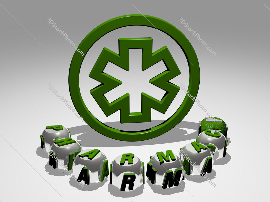 pharmacy round text of cubic letters around 3D icon