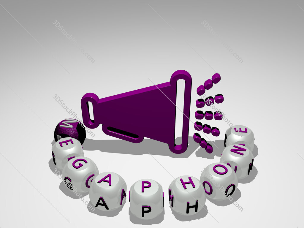 Megaphone round text of cubic letters around 3D icon