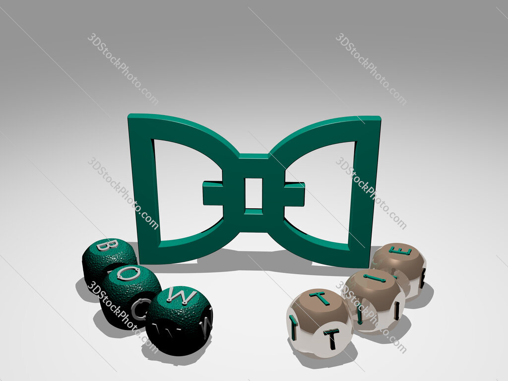 bow tie round text of cubic letters around 3D icon