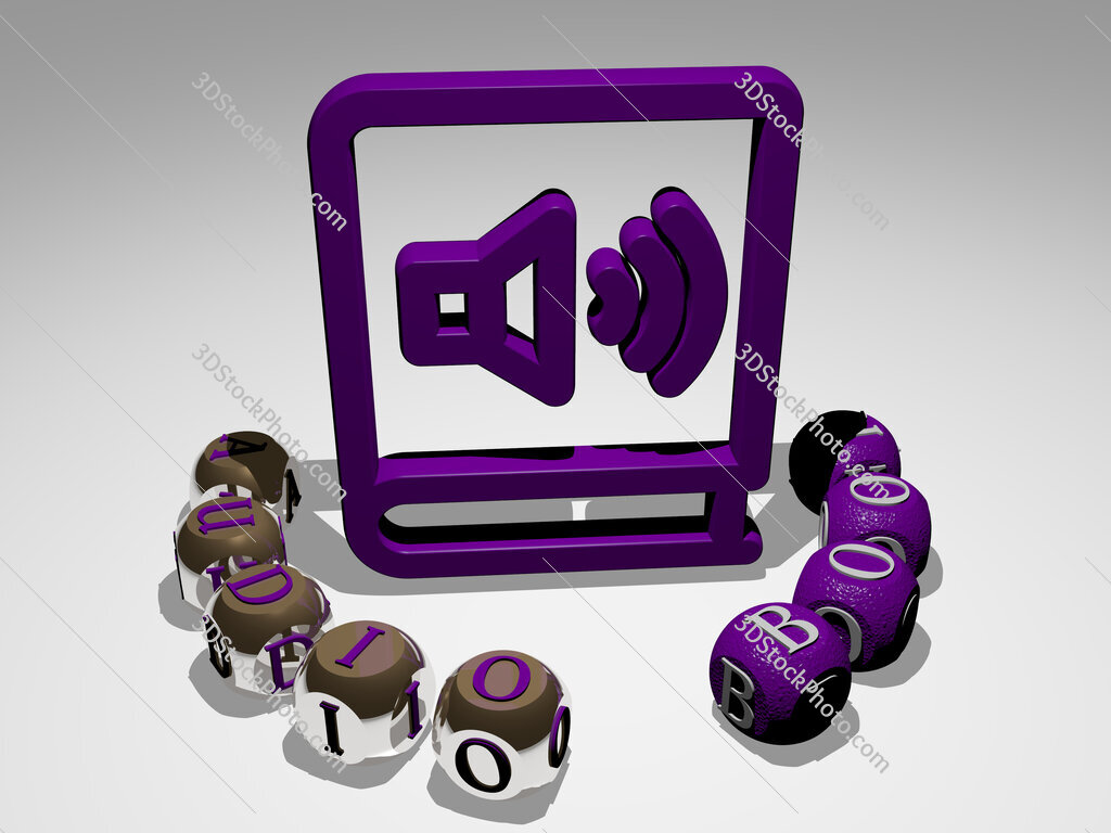 audio book round text of cubic letters around 3D icon