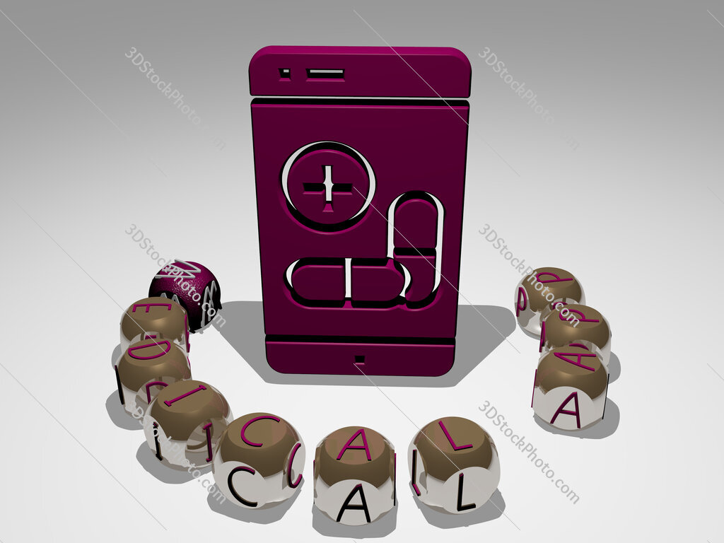 medical app round text of cubic letters around 3D icon