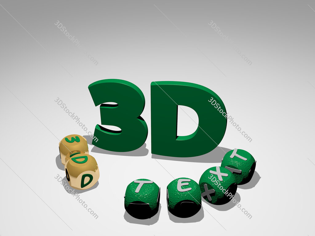 3d-text round text of cubic letters around 3D icon