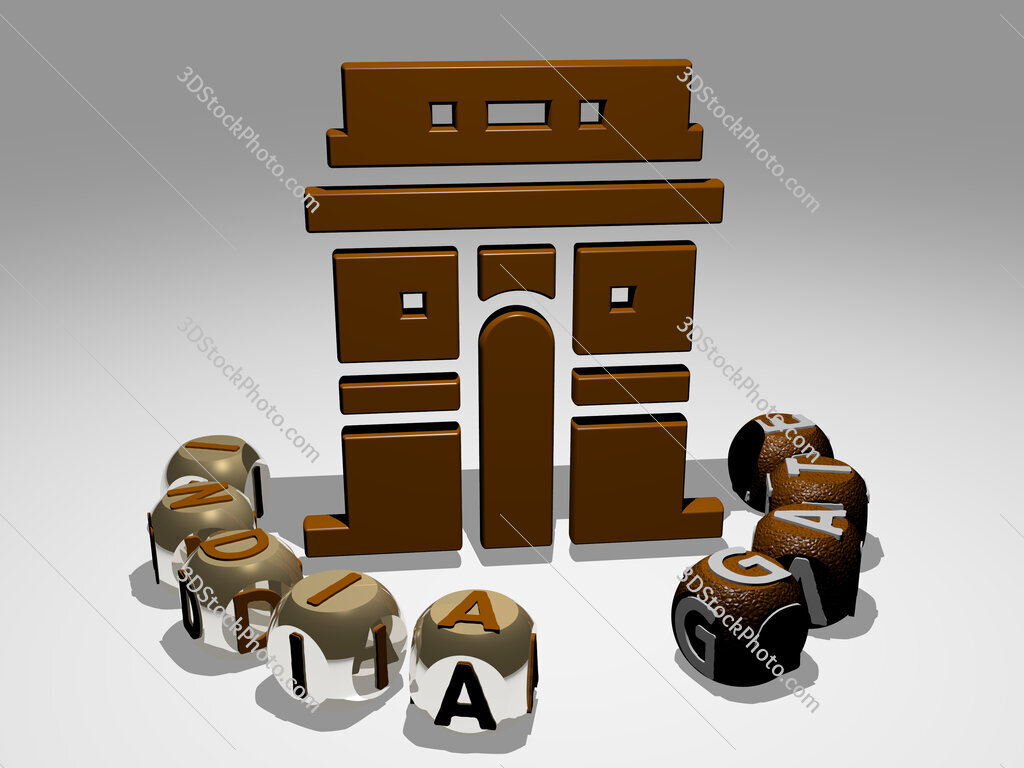 india gate round text of cubic letters around 3D icon
