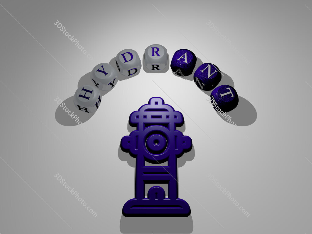 hydrant circular text of separate letters around the 3D icon