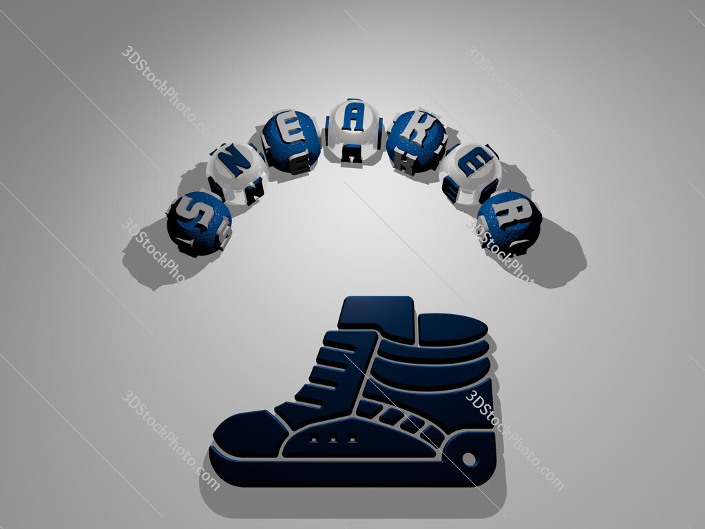 sneaker circular text of separate letters around the 3D icon