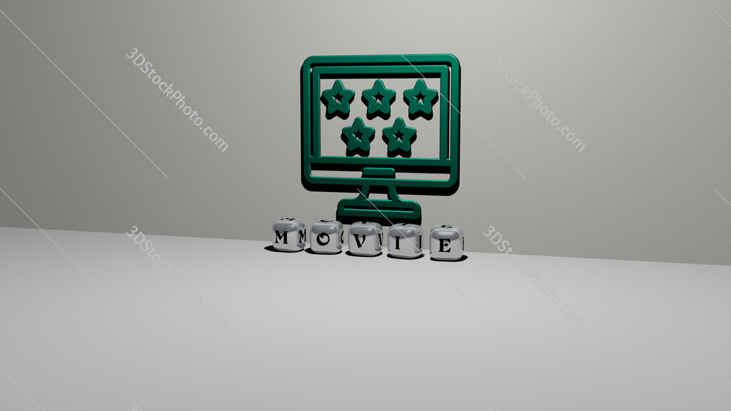 movie text of cubic dice letters on the floor and 3D icon on the wall