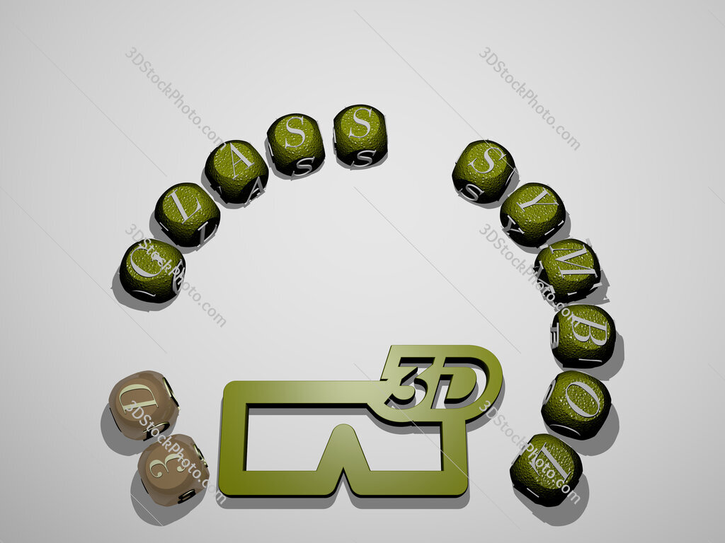 3d-glass-symbol 3D icon surrounded by the text of cubic letters