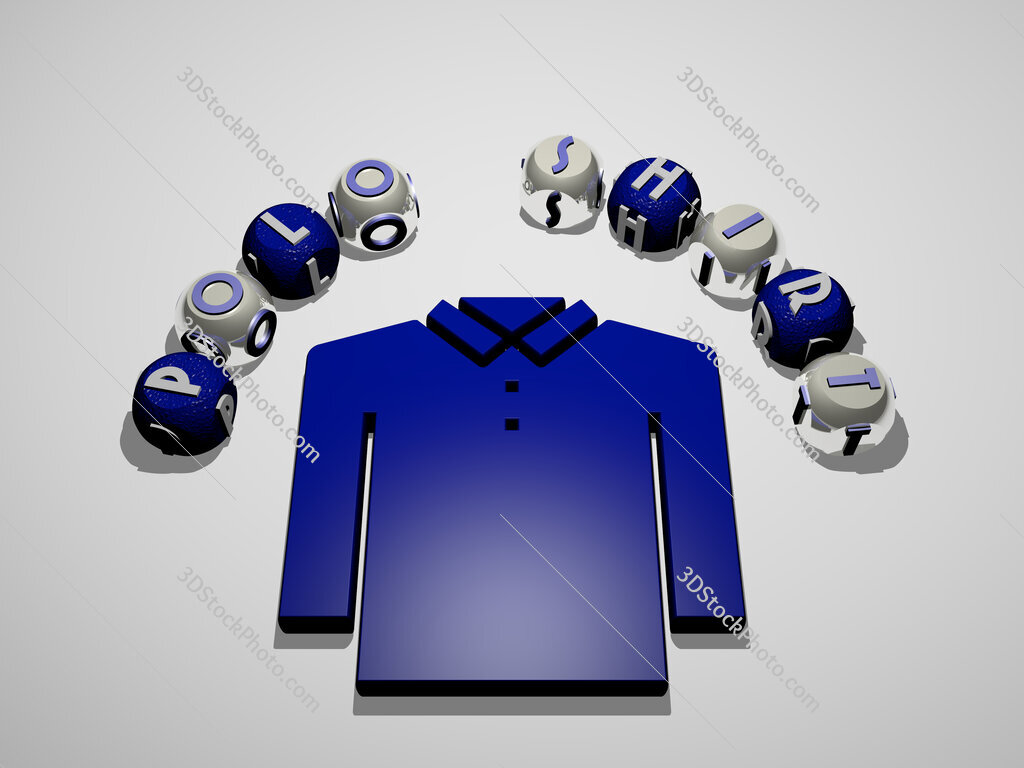 polo shirt 3D icon surrounded by the text of cubic letters