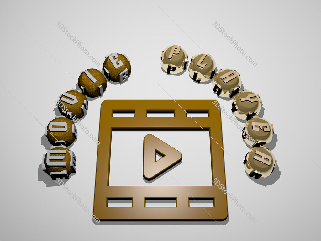 movie player 3D icon surrounded by the text of cubic letters
