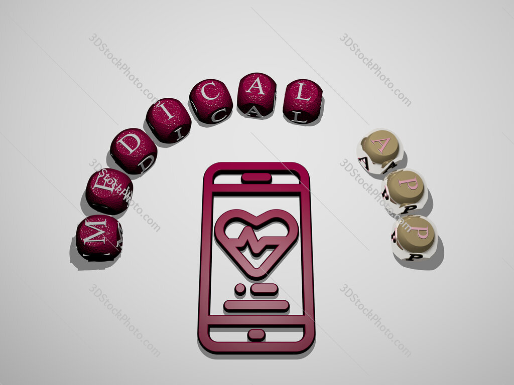 medical app 3D icon surrounded by the text of cubic letters