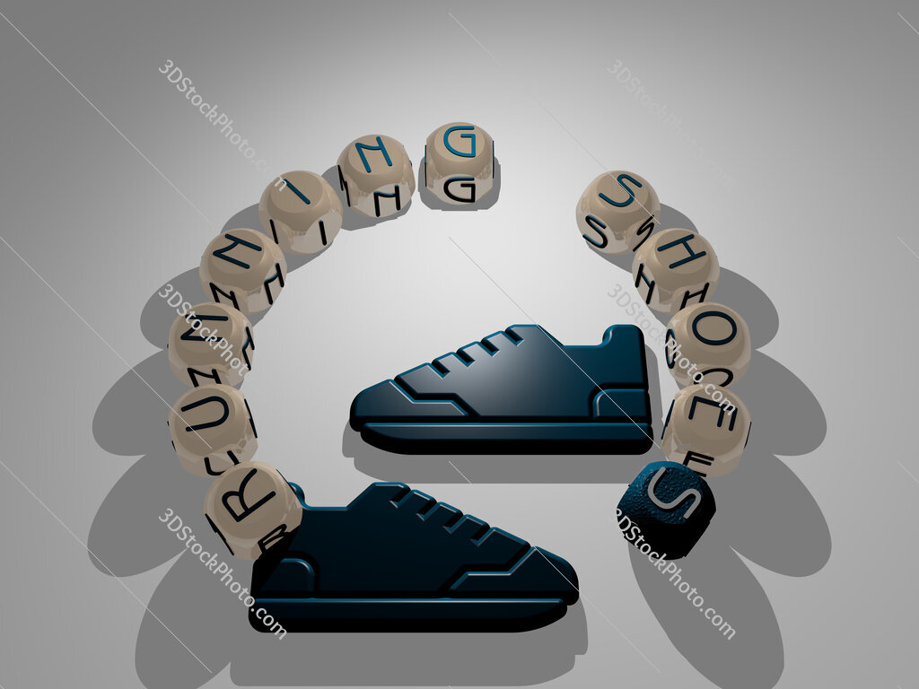 running shoes circular text of separate letters around the 3D icon