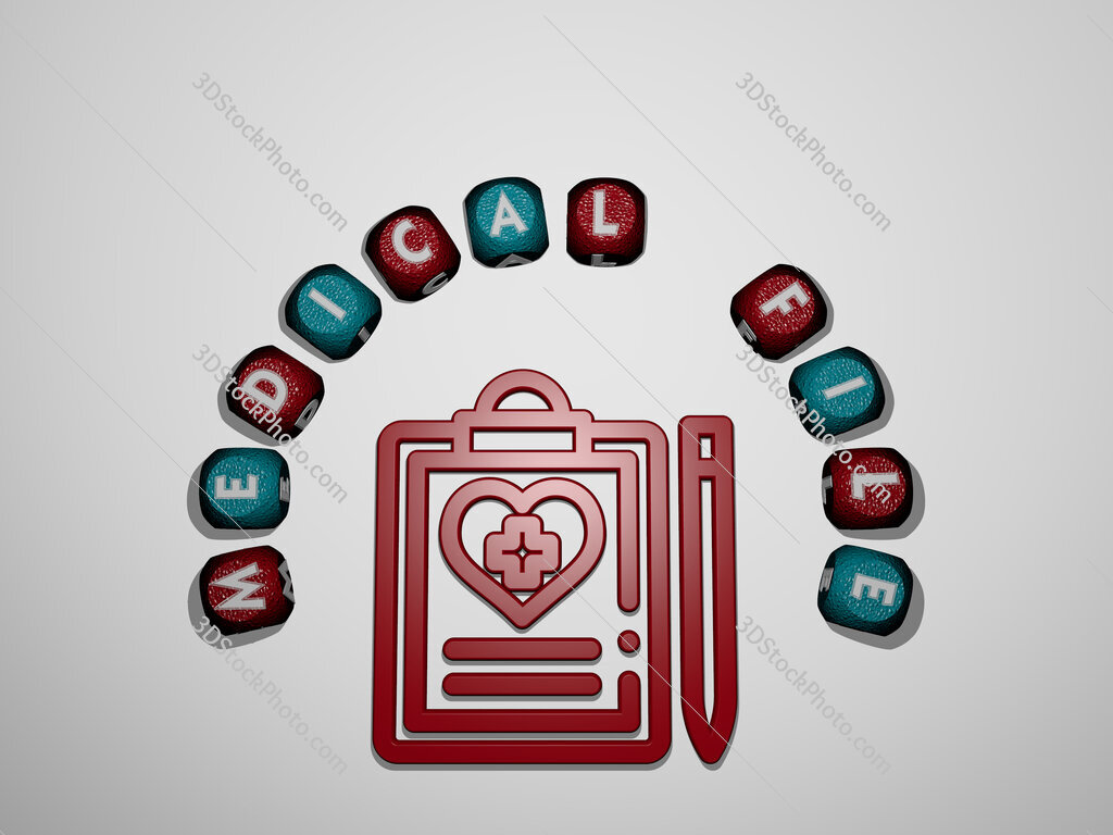 medical file icon surrounded by the text of individual letters