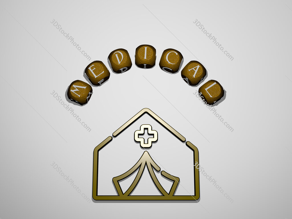 medical icon surrounded by the text of individual letters