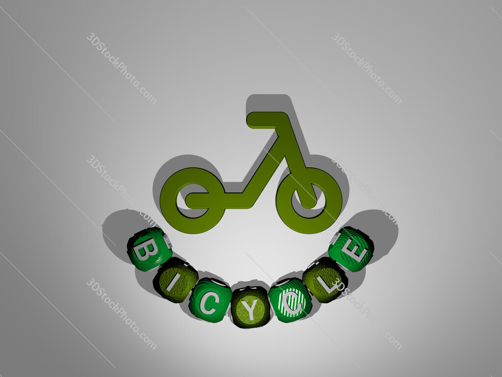 Bicycle text around the 3D icon