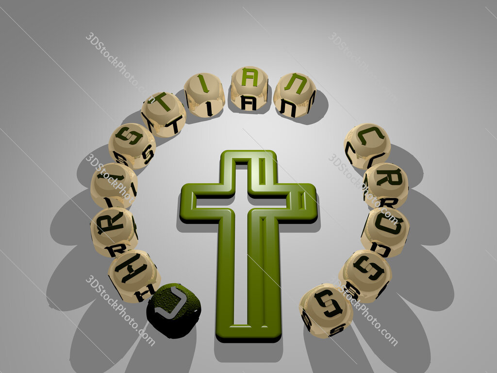 christian cross circular text of separate letters around the 3D icon