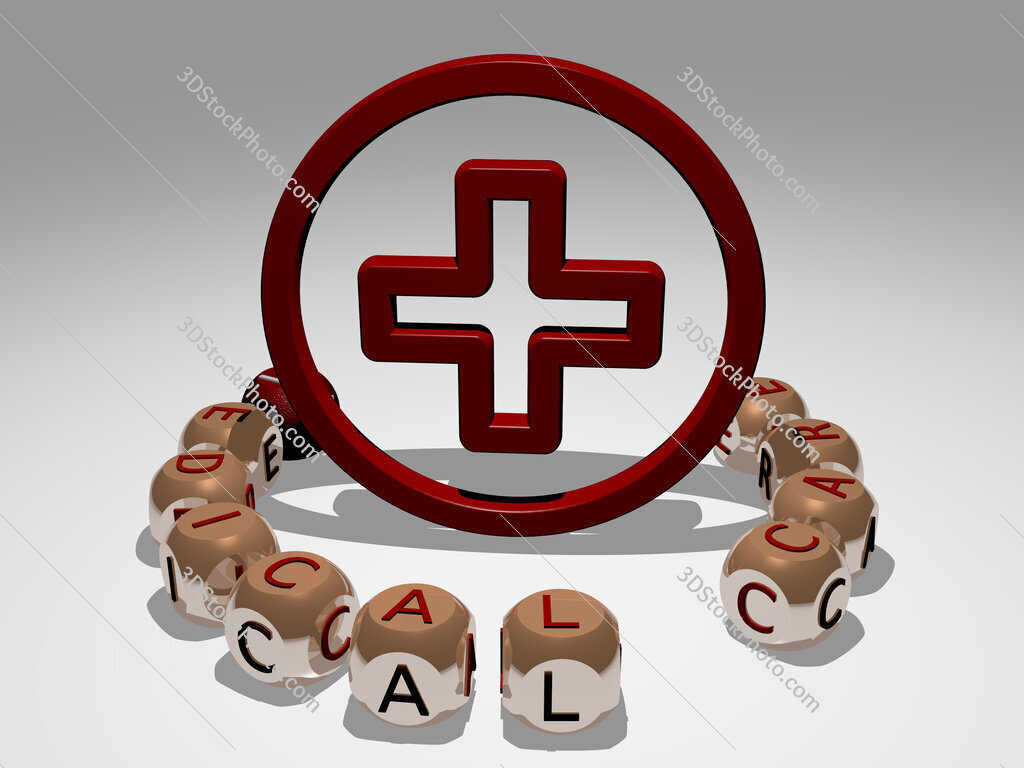 medical care round text of cubic letters around 3D icon