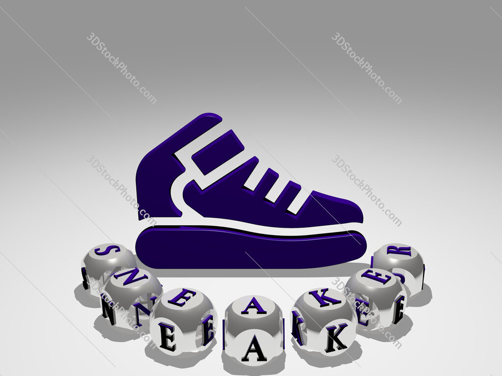 sneaker round text of cubic letters around 3D icon