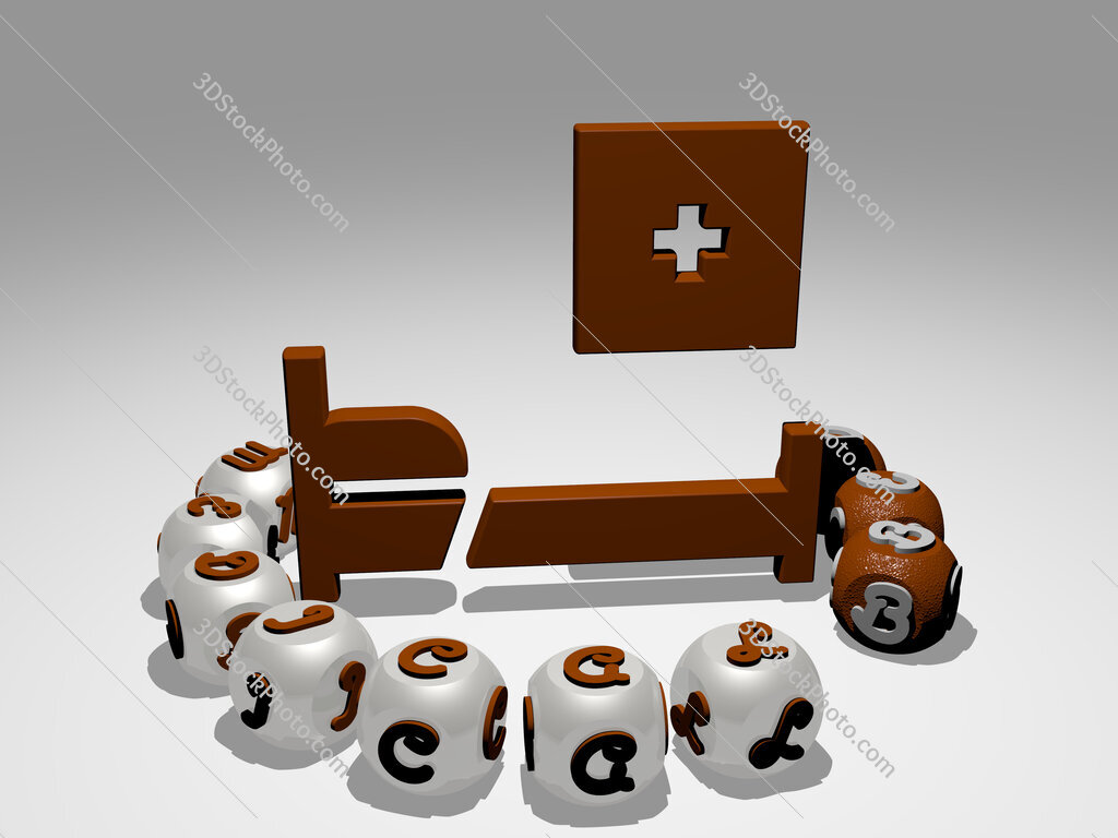 medical bed round text of cubic letters around 3D icon