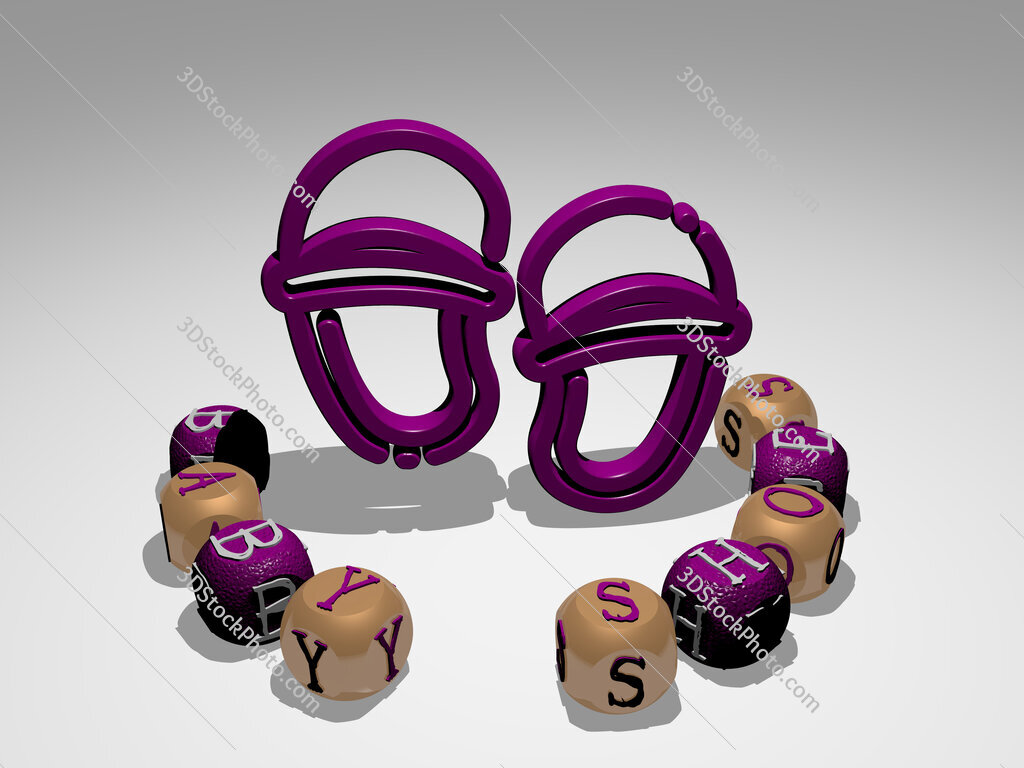baby shoes round text of cubic letters around 3D icon
