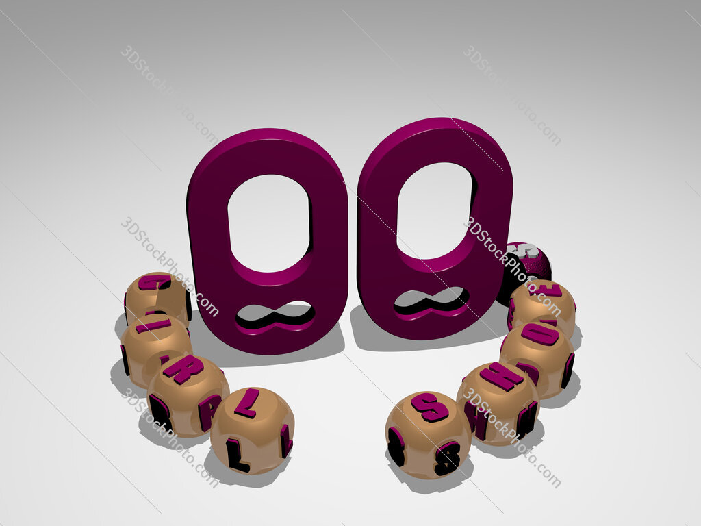girl-shoes round text of cubic letters around 3D icon