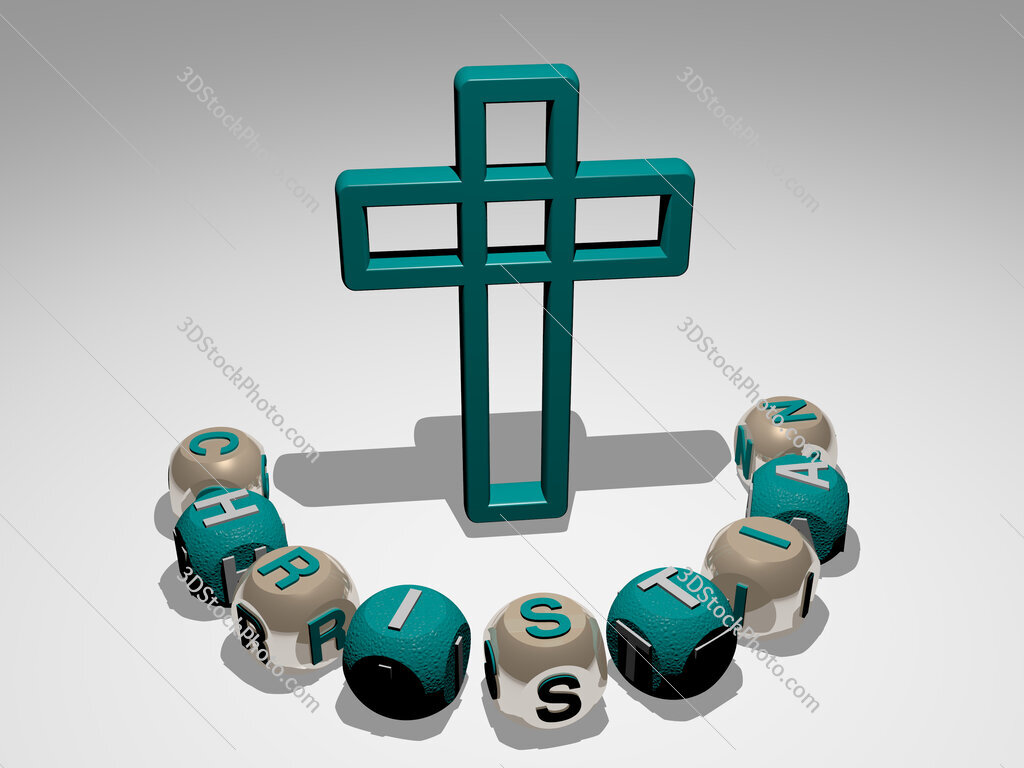 Christian round text of cubic letters around 3D icon