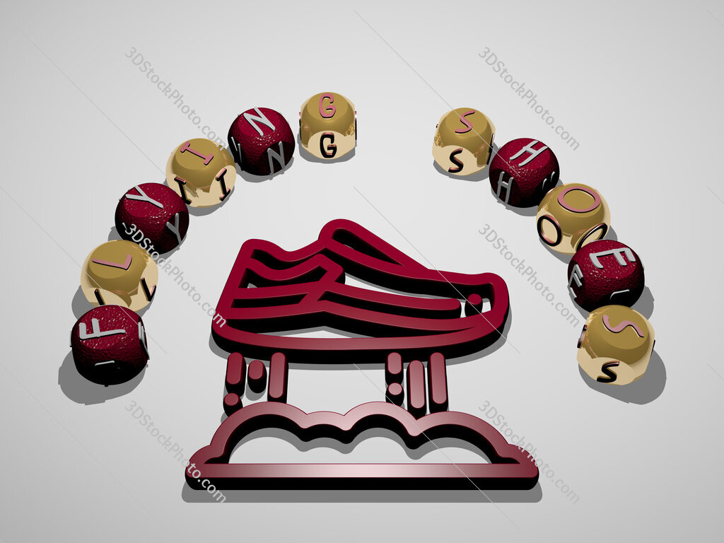 flying shoes 3D icon surrounded by the text of cubic letters