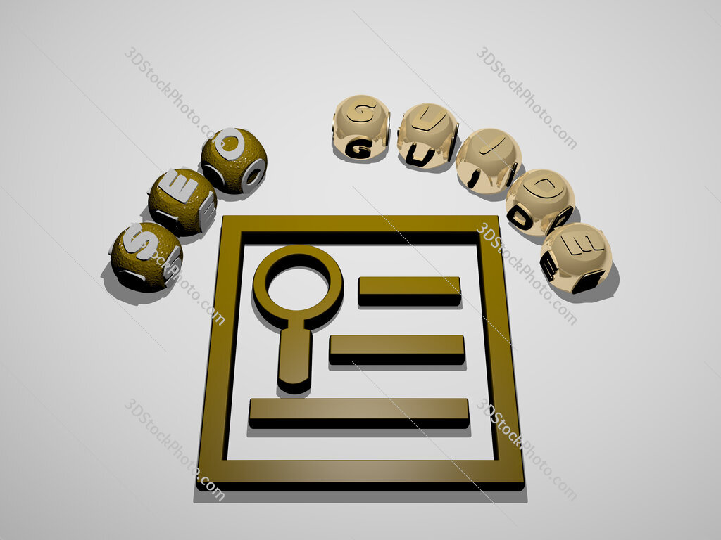 seo guide 3D icon surrounded by the text of cubic letters