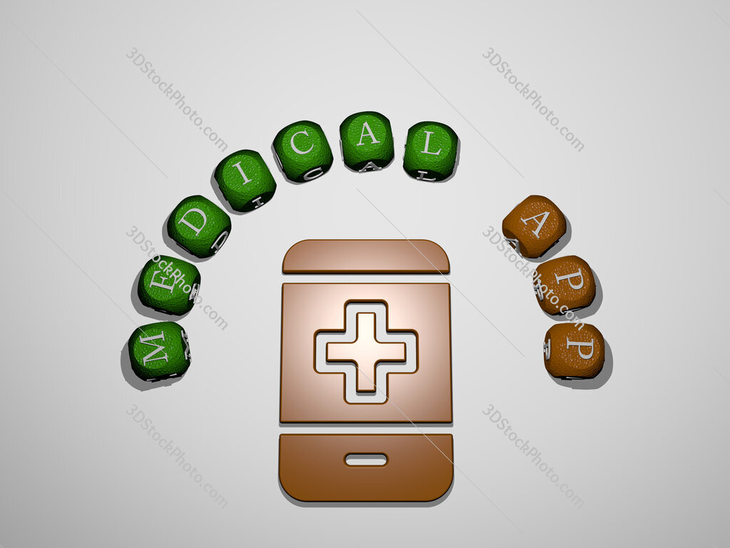 medical app icon surrounded by the text of individual letters