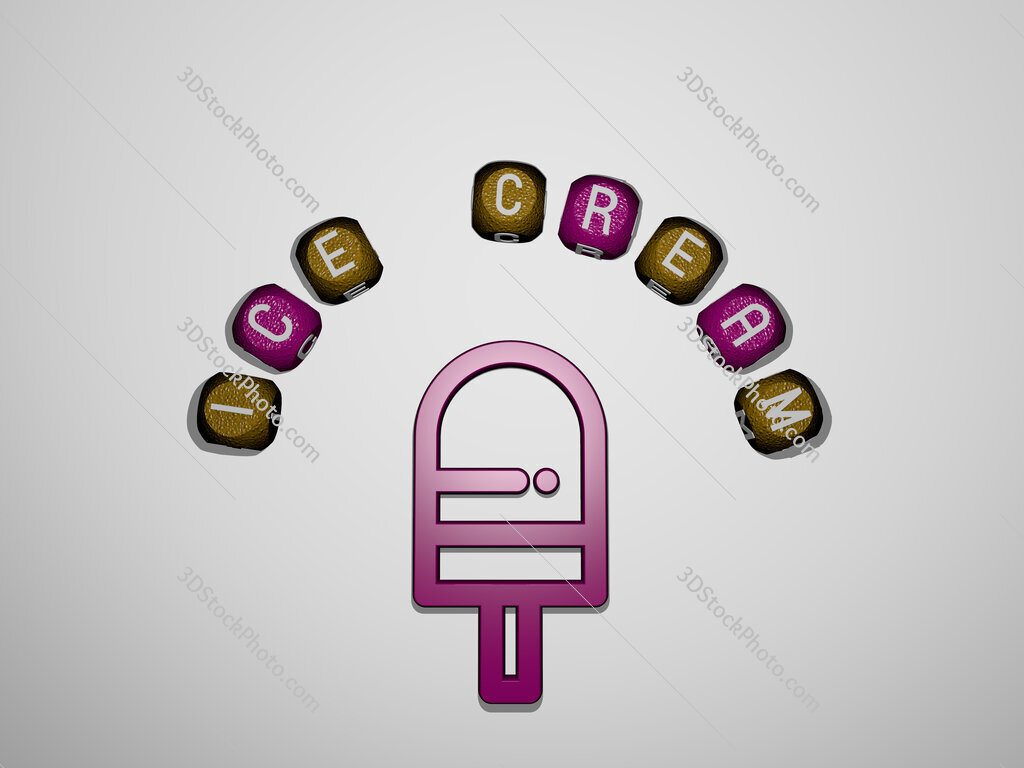 ice cream icon surrounded by the text of individual letters