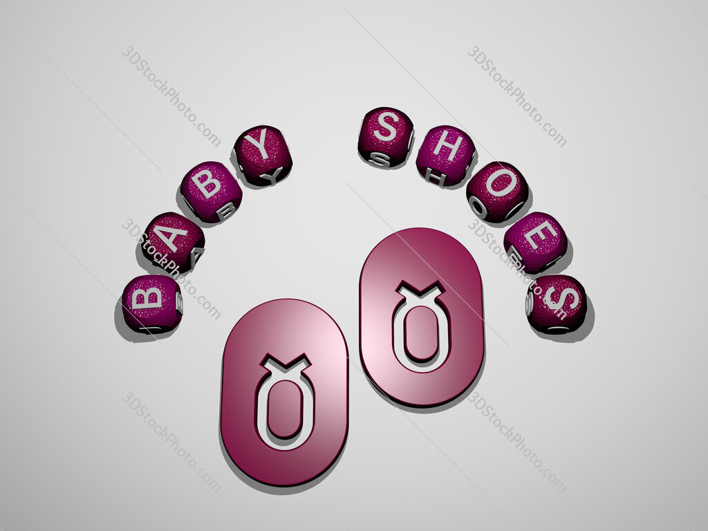 baby shoes icon surrounded by the text of individual letters