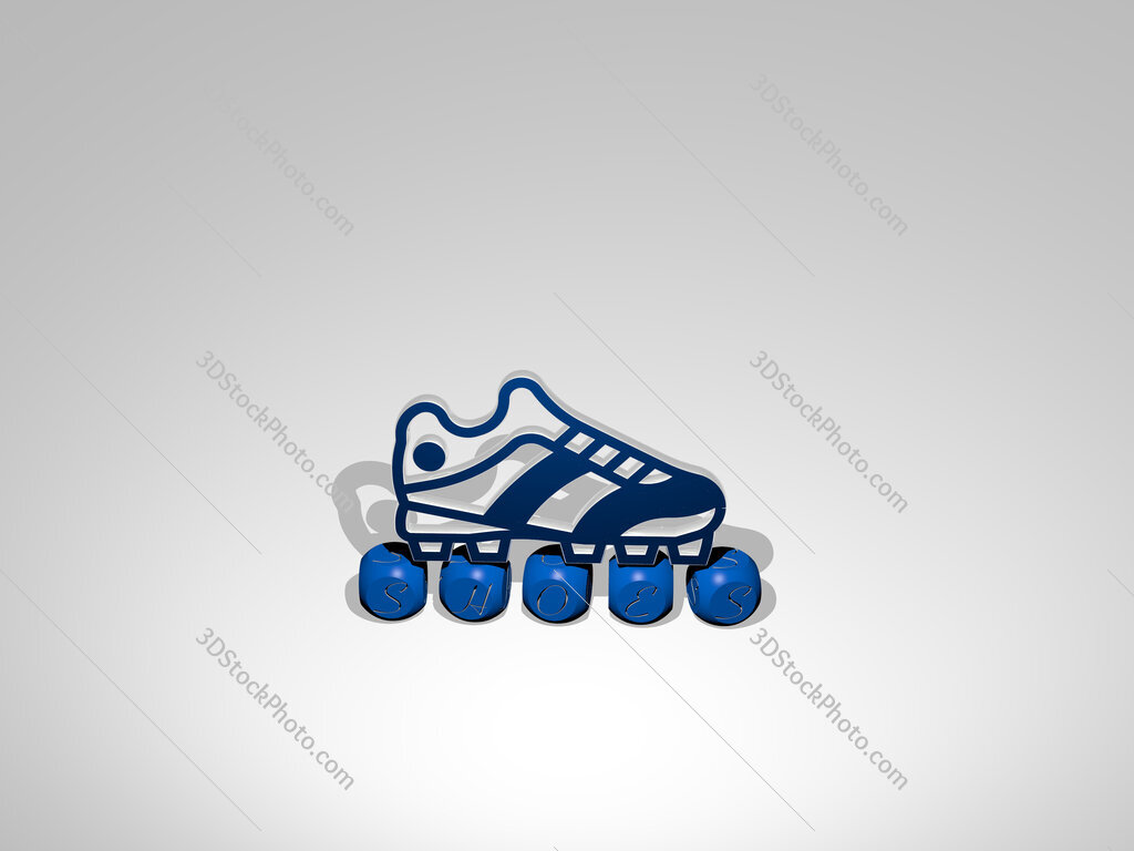 shoes cubic letters with 3D icon on the top