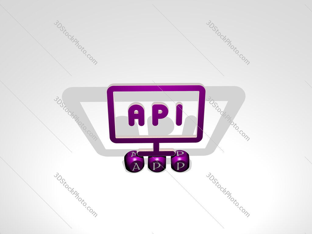 app cubic letters with 3D icon on the top