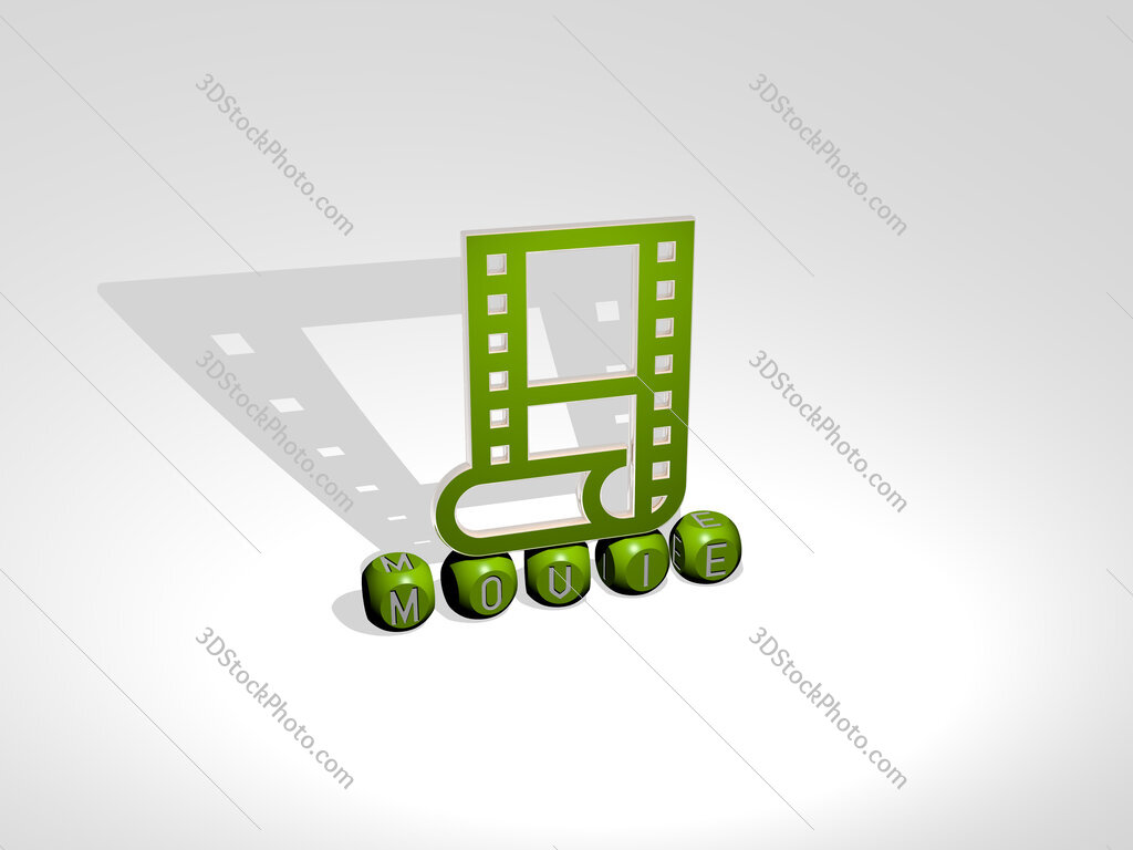 movie cubic letters with 3D icon on the top