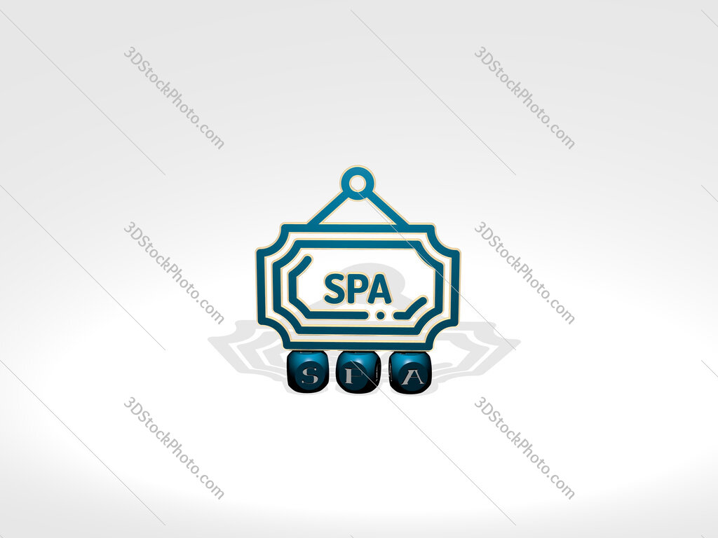 spa cubic letters with 3D icon on the top