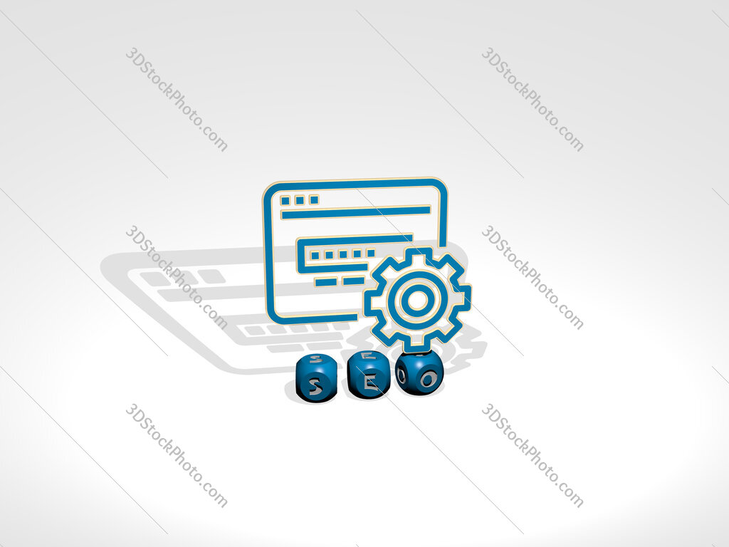 seo cubic letters with 3D icon on the top