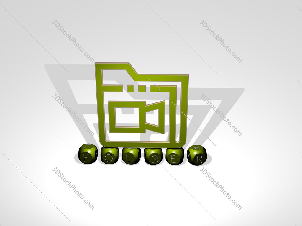 folder cubic letters with 3D icon on the top