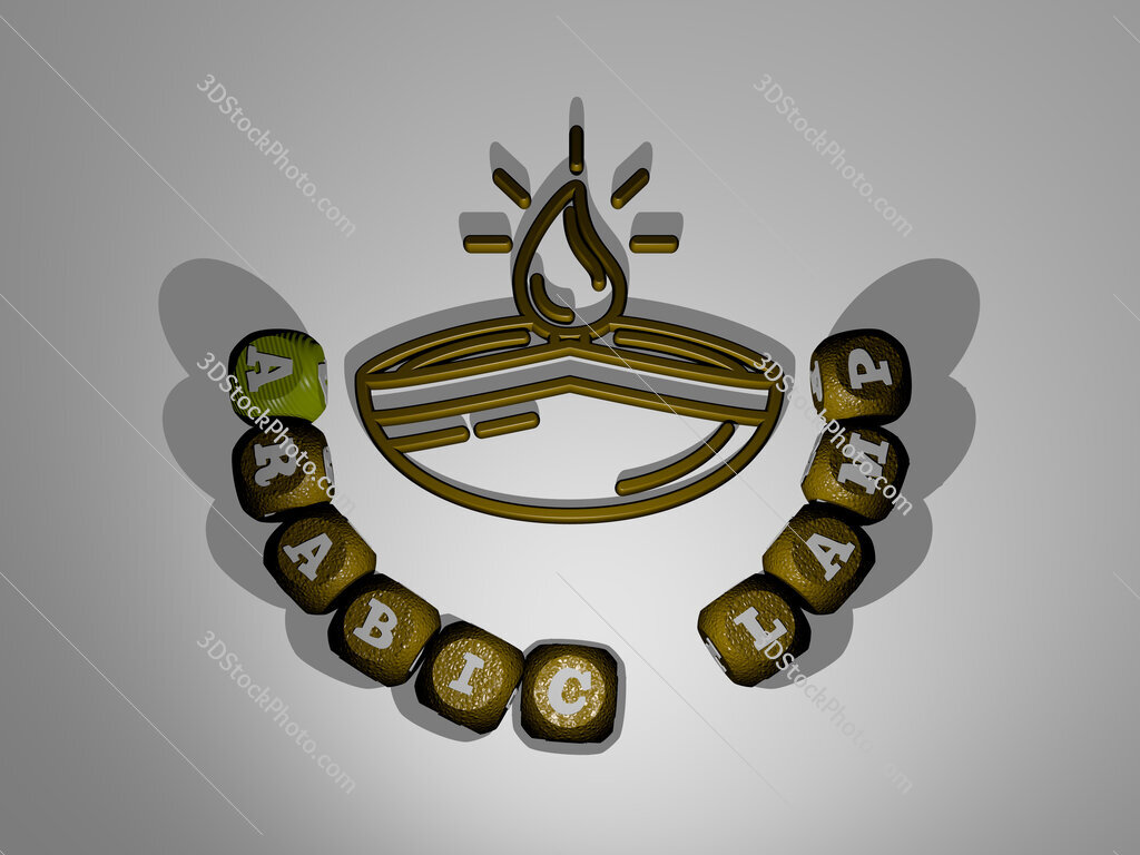 arabic lamp text around the 3D icon