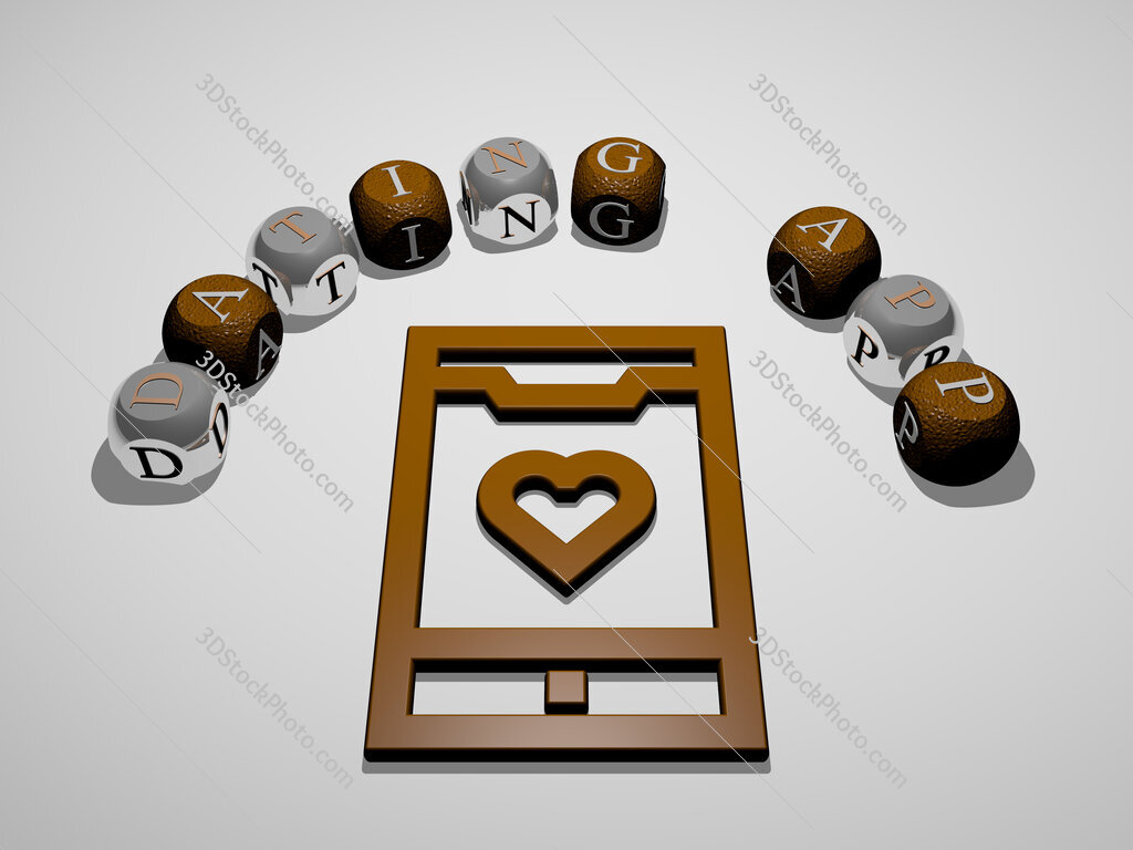 dating app 3D icon surrounded by the text of cubic letters