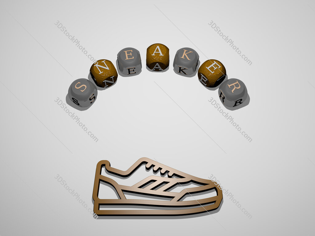 sneaker 3D icon surrounded by the text of cubic letters