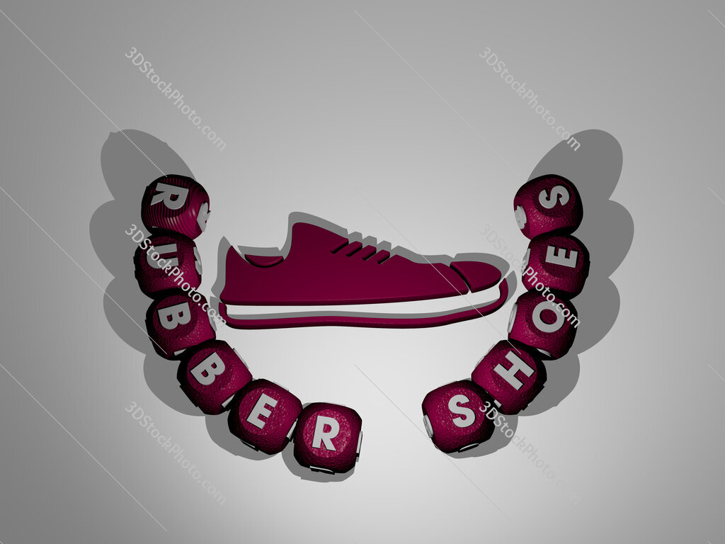 rubber shoes text around the 3D icon