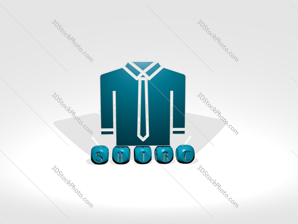 shirt cubic letters with 3D icon on the top