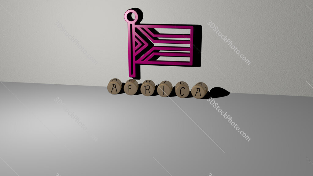 africa text of cubic dice letters on the floor and 3D icon on the wall