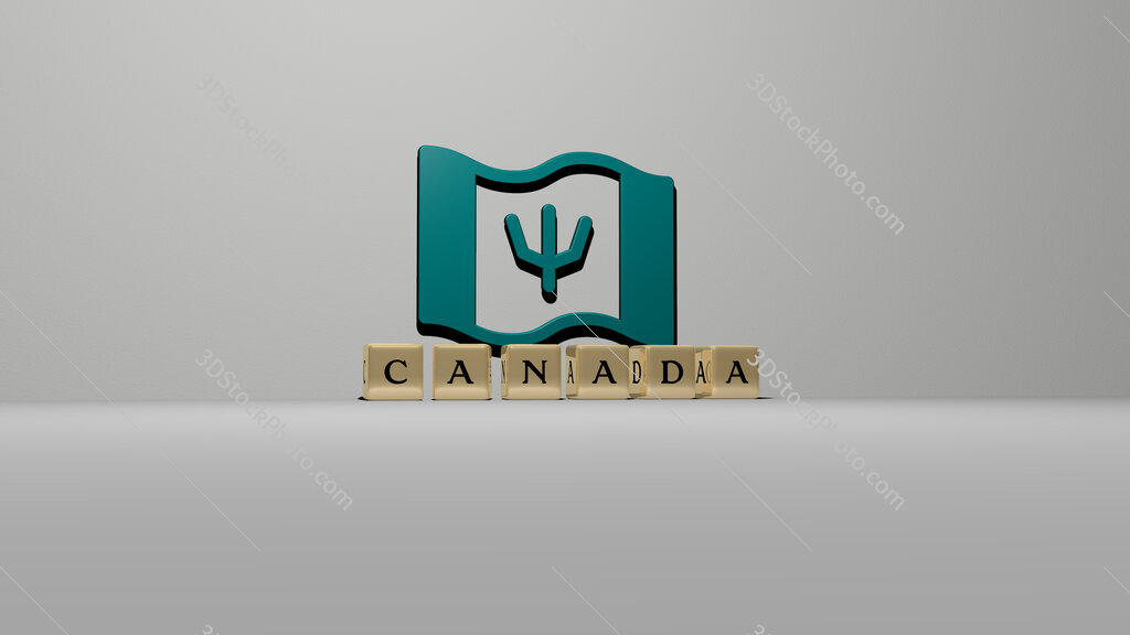 canada text of cubic dice letters on the floor and 3D icon on the wall