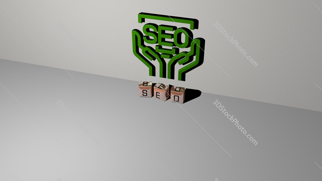seo text of cubic dice letters on the floor and 3D icon on the wall